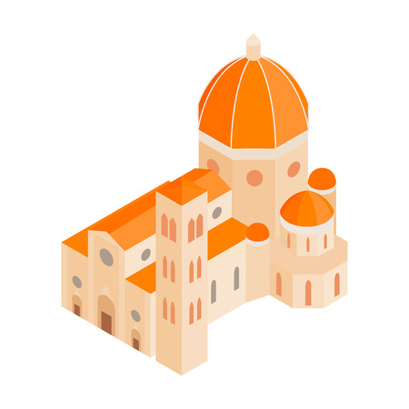 Roman Cathedral icon in isometric 3d style on a white background