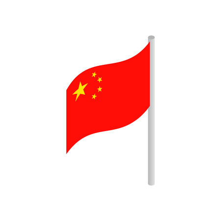 china icon: Flag of China icon in isometric 3d style on a white background Illustration