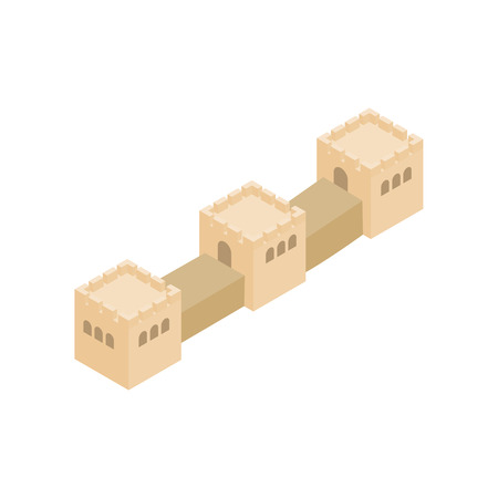 great wall of china: Great Wall of China icon in isometric 3d style on a white background