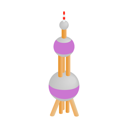 Oriental Pearl Tower icon in isometric 3d style on a white background