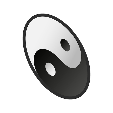 daoism: Ying yang  icon in isometric 3d style on a white background