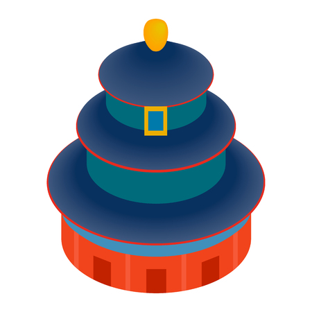 3d temple: Temple of Heaven icon in isometric 3d style on a white background
