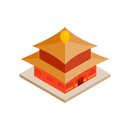 3d temple: Chinese temple icon in isometric 3d style on a white background