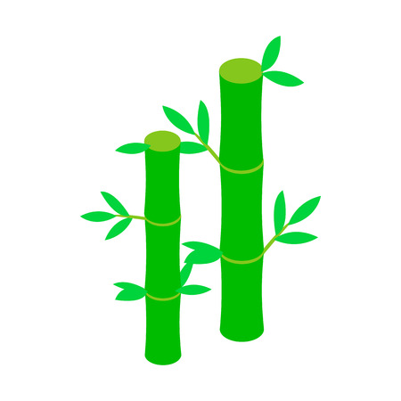 asian gardening: Green bamboo stem icon in isometric 3d style on a white background Illustration