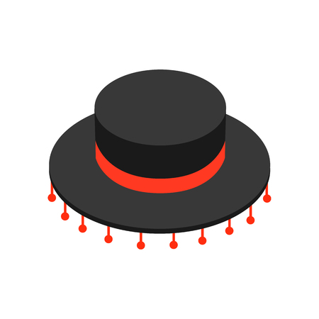 castanets: Black sombrero hat icon in isometric 3d style on a white background