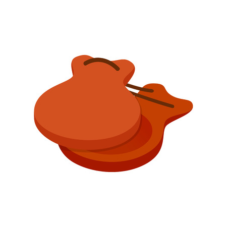 castanets: Spanish castanets icon in isometric 3d style on a white background