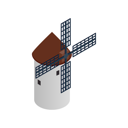 spinning windmill: Windmill icon in isometric 3d style on a white background