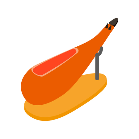 iberian: Jamon icon in isometric 3d style on a white background. Spanish ham