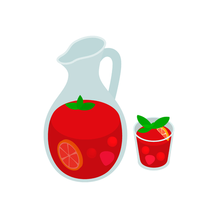 sangria: Jar and glass of fresh sangria icon in isometric 3d style on a white background. Spanish ham