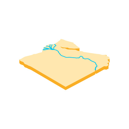 nile: Nile river icon in isometric 3d style on a white background