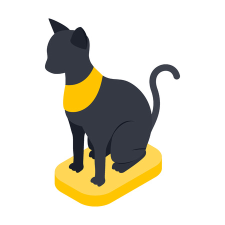 rarity: Black Egyptian cat icon in isometric 3d style on a white background