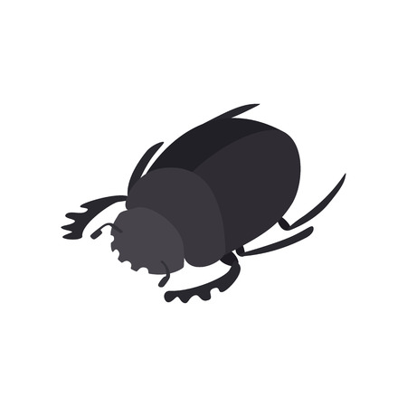 scarab: Scarab icon in isometric 3d style on a white background