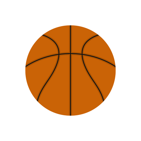 indoor court: Basketball ball flat icon isolated on white background