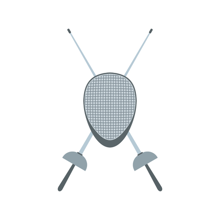 pentathlon: Fencing swords and helmet mask flat icon isolated on white background