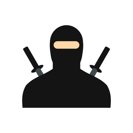 incarnation: Ninja flat icon isolated on white background