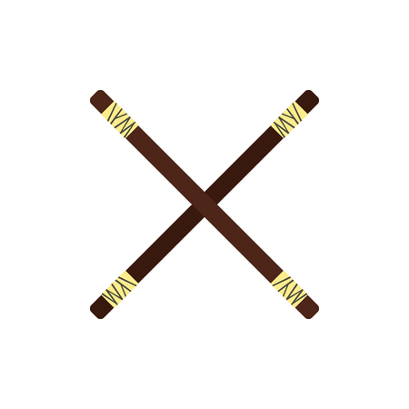 Wooden sword bokken flat icon isolated on white background Illustration