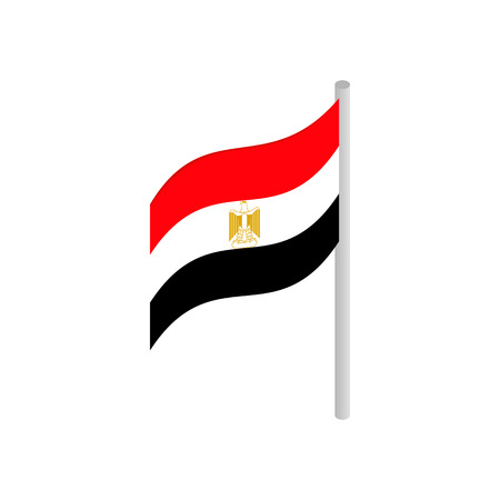 Flag of Egypt icon in isometric 3d style on a white background Vektorové ilustrace