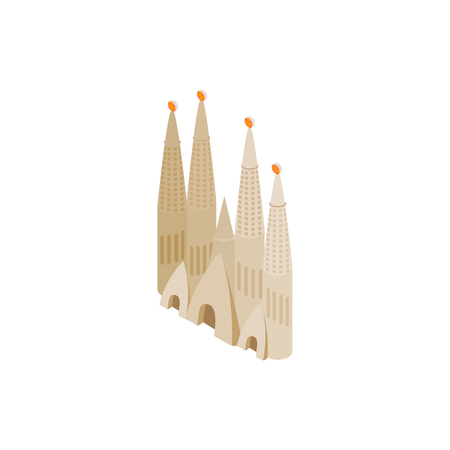 Roman Catholic church in Barcelona icon in isometric 3d style on a white background. Antoni Gaudis Sagrada Familia Illustration