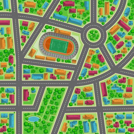 Bovenaanzicht van de stad flat illustratie voor een ontwerp Vector Illustratie