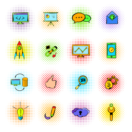 response time: Seo icons in comics style isolated on white Illustration