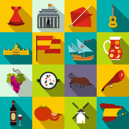 gaudi: Spain icons in flat style for web and mobile devices Illustration