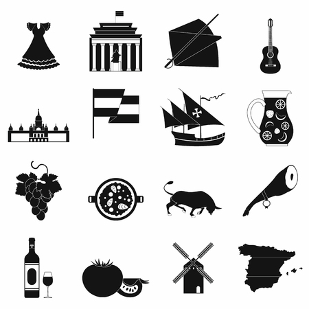 gaudi: Spain icons in black simple style for web and mobile devices