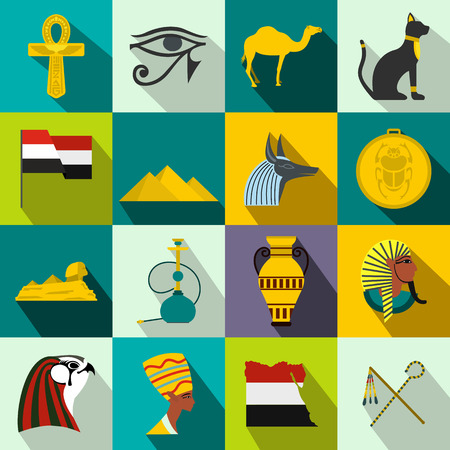 artificial wing: Egypt icons in flat style for web and mobile devices