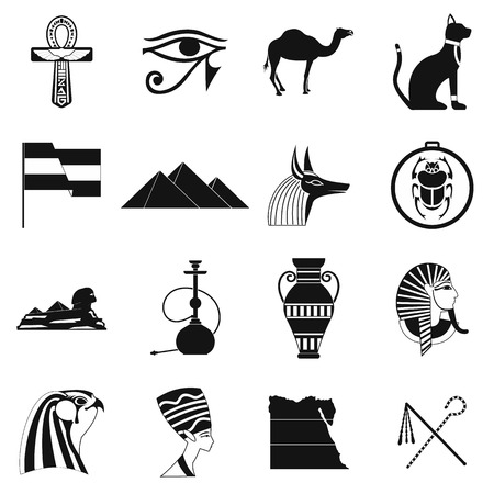 artificial wing: Egypt icons in black simple style for web and mobile devices