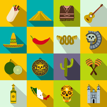 enchiladas: Mexico icons in flat style for web and mobile devices