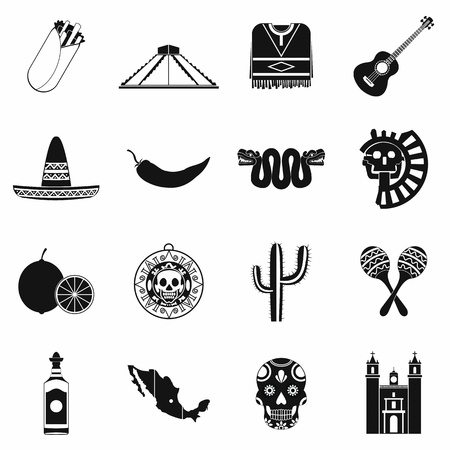 latinoamerica: Mexico icons in black simple style for web and mobile devices