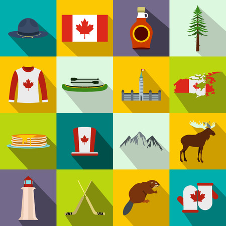 Canada icons in flat style for web and mobile devices
