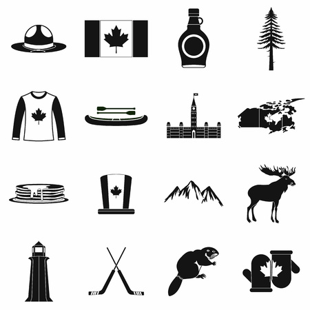 canada: Canada icons in black simple style for web and mobile devices
