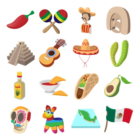 enchiladas: Mexico icons in cartoon style for web and mobile devices