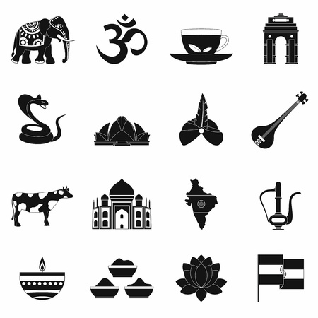 mausoleum: India icons in black simple style for web and mobile devices
