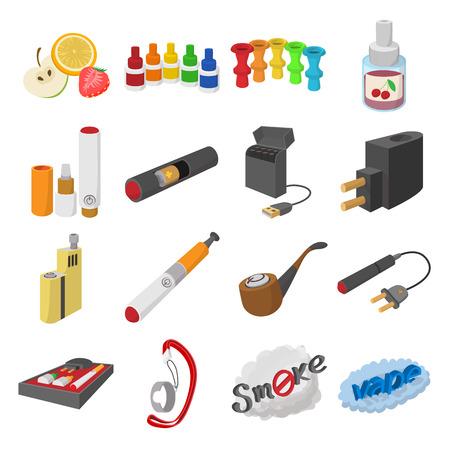 e liquid: Electronic cigarettes cartoon icons set isolated on white background Illustration