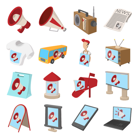 advertisers: Advertisement icons set in cartoon style isolated on white Illustration
