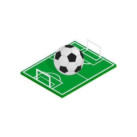 soccer field: Ball on the soccer field icon in isometric 3d style on a white background