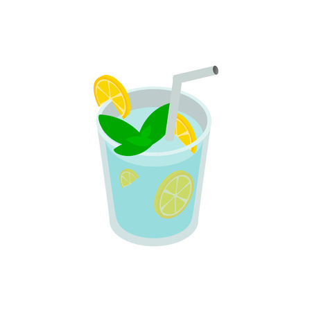 poured: Caipirinha cocktail drink icon in isometric 3d style on a white background