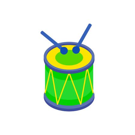 Drum und Drumsticks Symbol in der isometrischen 3D-Stil auf einem weißen Hintergrund
