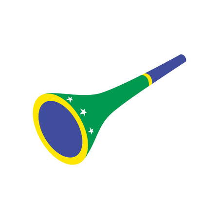 vuvuzela: Vuvuzela trumpet icon in isometric 3d style on a white background Illustration
