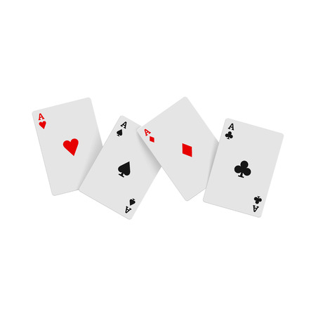 aces: Four aces playing cards icon in realistic style on a white background Illustration