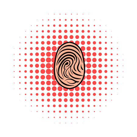 theft proof: Fingerprint icon in comics style on a white background