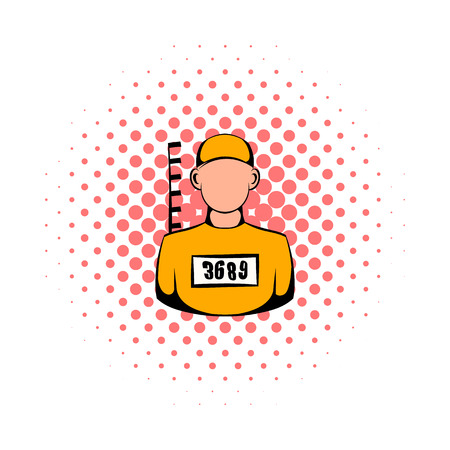 inmate: Prisoner in hat with number icon in comics style on a white background Illustration