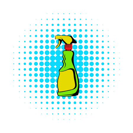 woman hygiene protection: Plastic hand spray bottle icon in comics style on a white background