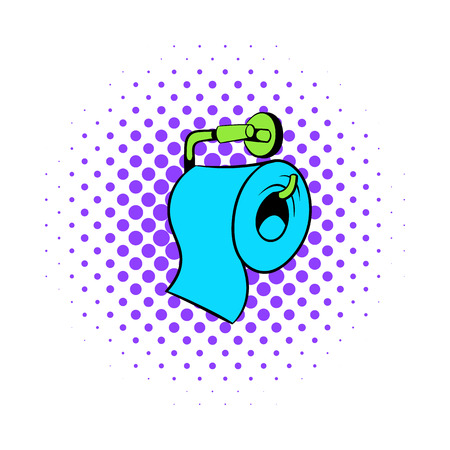 Icona di carta igienica in stile fumetto su un'icona di sfondo bianco