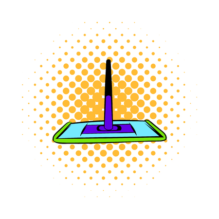 mop floor: Floor cleaning mop icon in comics style on a white background