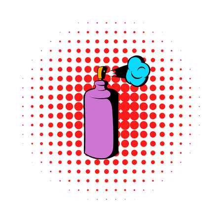 pressure bottle: Spray can in use icon in comics style on a white background Illustration