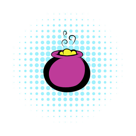 broth: Witch cauldron with yellow potion, bubbling witches brew icon in comics style on a white background