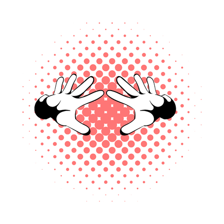 magus: Magicians hands icon in comics style on a white background