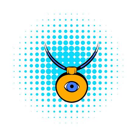 eye icon: Amulet against the evil eye icon in comics style on a white background